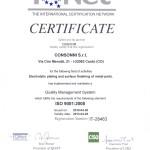 certificato IQNet rilasciato all'azienda Consonni srl.