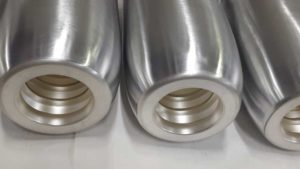 Partial silver-plating (head and interior) on aluminum contacts with a diameter of 140 mm, after copper plating